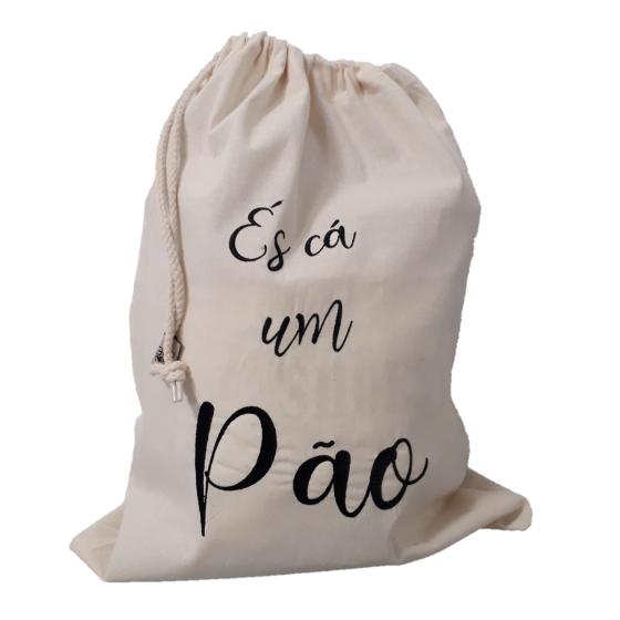Saco de algodão cru p/pão L (50 x 14 cm)
