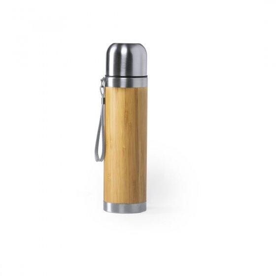 Termo em aço inox e bambu