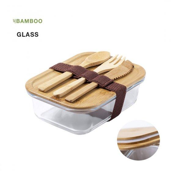 Marmita de vidro com tampa em bambu