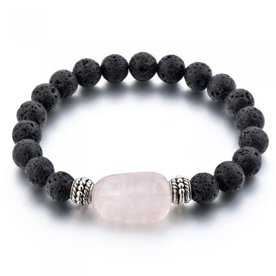Pulseira com pedras lava  e quartzo rosa