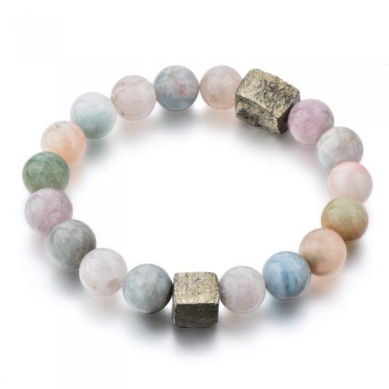 Pulseira com pedras de quartzo e mineral de hematite