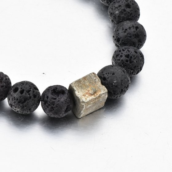 Pulseira com mineral de hematite e pedras de lava