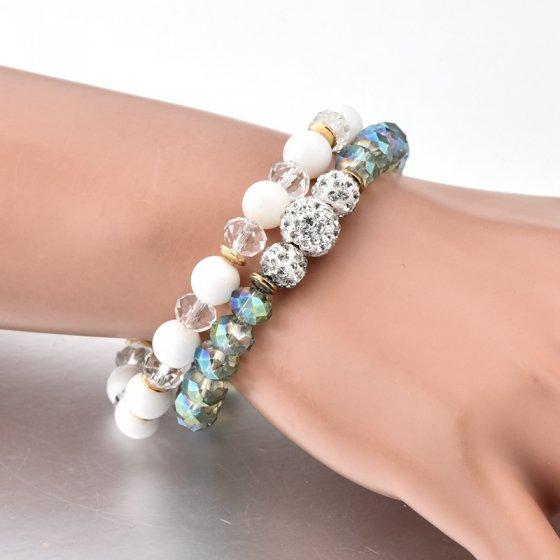 Conj. Pulseiras com quartzos leitosos e cristais facetados