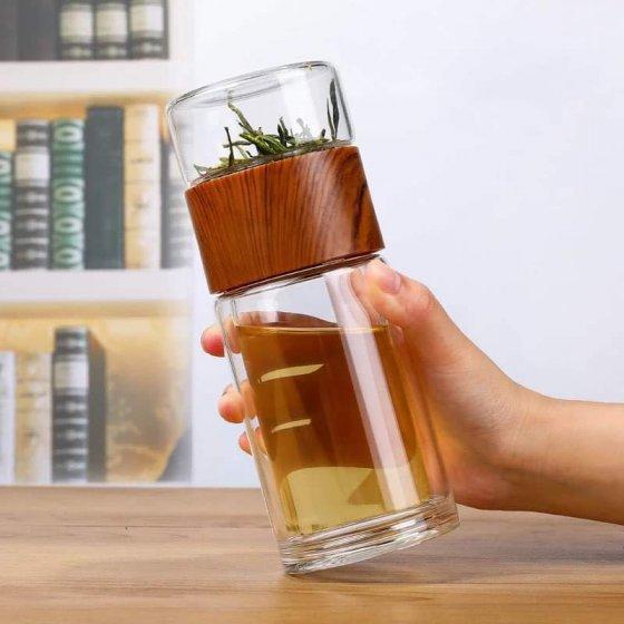 Copo de chá vidro térmico duplo
